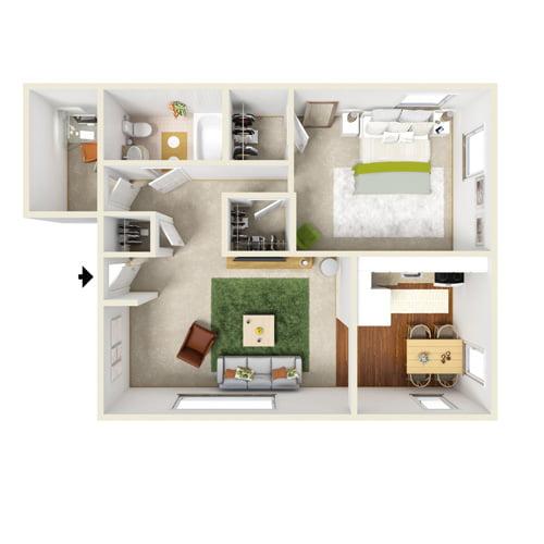 presidential estates one bedroom floor plan with den